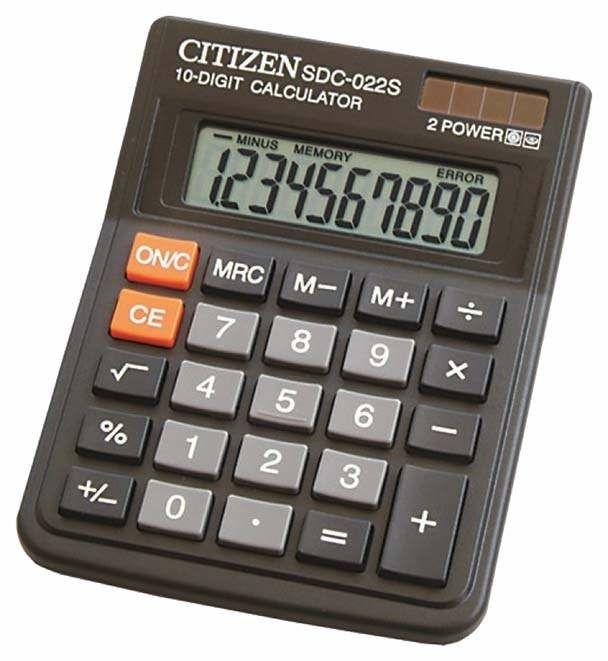 Калькулятор CITIZEN SDC-022S,  10-разрядный, черный