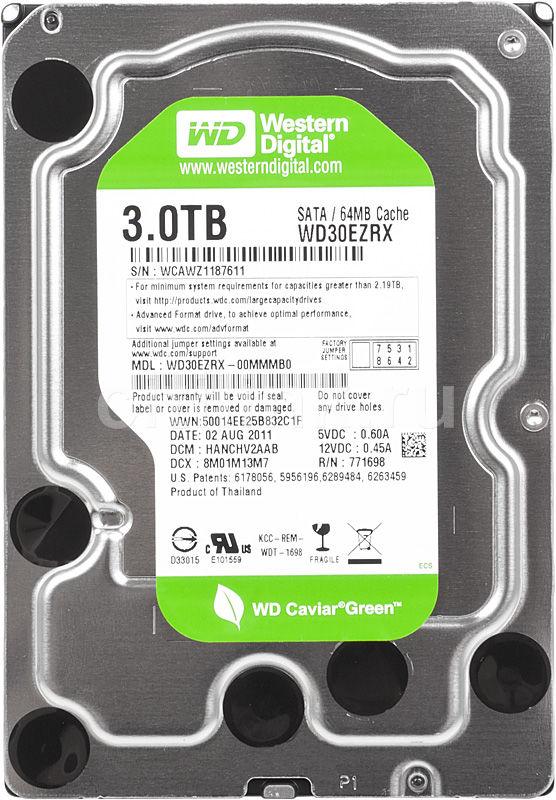 Жесткий диск WD Caviar Green WD30EZRX,  3Тб,  HDD,  SATA III,  3.5