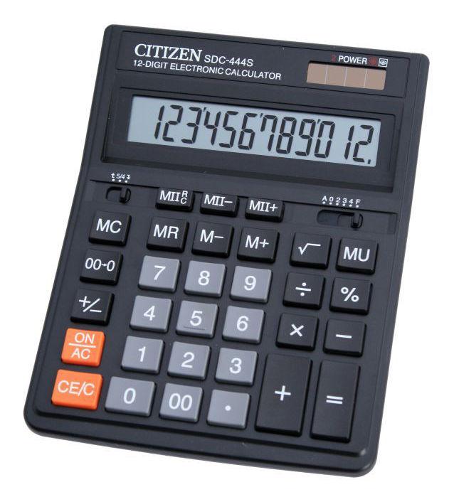 Калькулятор CITIZEN SDC-444S,  12-разрядный, черный