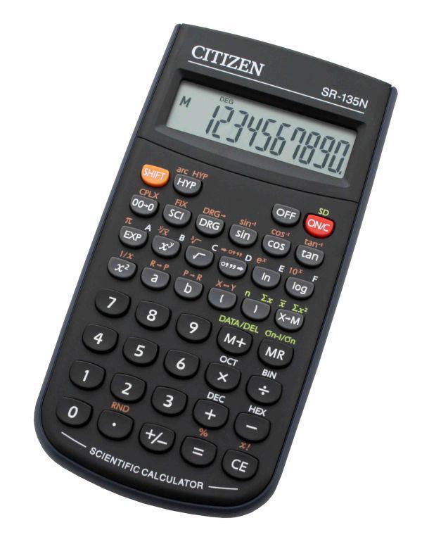Калькулятор CITIZEN SR-135NCFS,  8-разрядный, черный