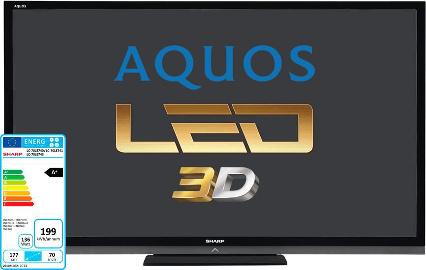 "LED телевизор SHARP Aquos LC70LE741ERU  ""R"", 70"", 3D,  FULL HD (1080p),  черный"