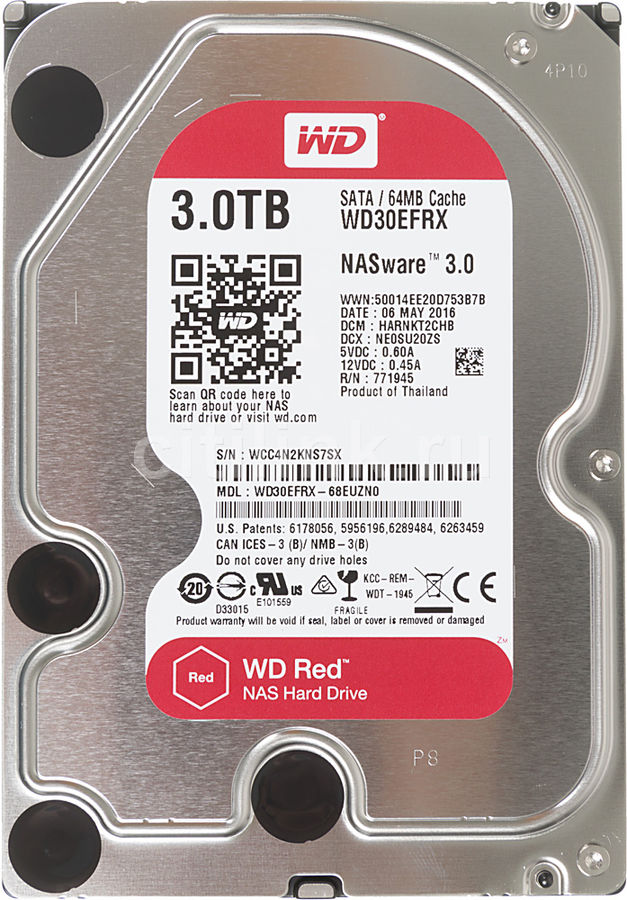 Жесткий диск WD Red WD30EFRX,  3Тб,  HDD,  SATA III,  3.5