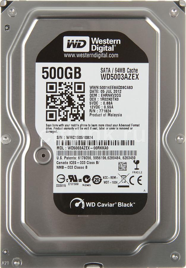 Жесткий диск WD Caviar Black WD5003AZEX,  500Гб,  HDD,  SATA III,  3.5