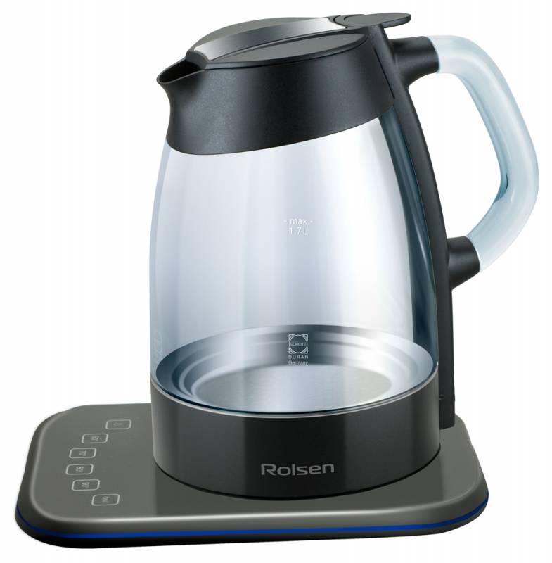 Чайный набор ROLSEN RK-3716GD + TCG-1000, 2200Вт, черный