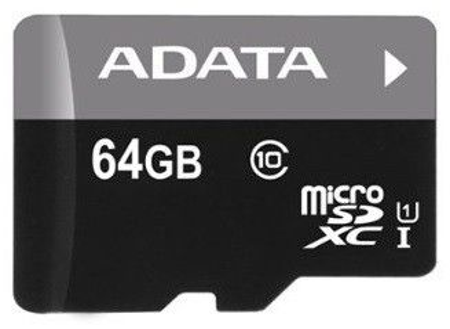 Карта памяти microSDHC UHS-I A-DATA 64 ГБ, Class 10, AUSDX64GUICL10-RA1,  1 шт.
