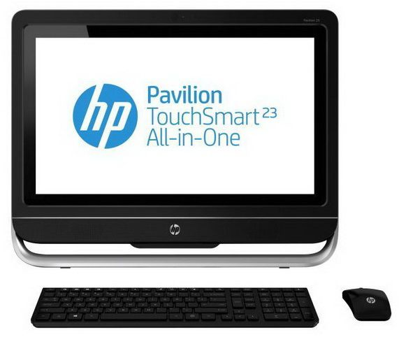 Моноблок HP Pavilion TouchSmart 23-f230er, Intel Core i5 3330S, 4Гб, 1000Гб, nVIDIA GeForce 710A - 1024 Мб, DVD-RW, Windows 8, черный и серебристый [e6q10ea]