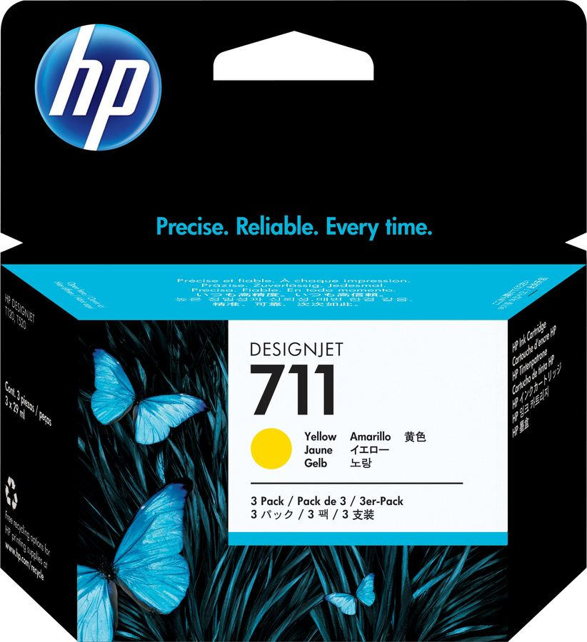 Тройная упаковка картриджей HP №711 желтый [cz136a]