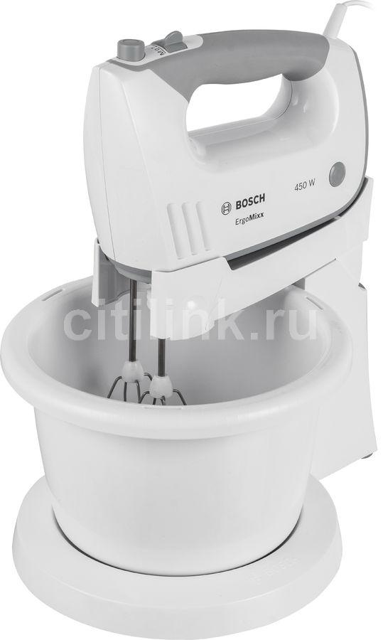 Миксер BOSCH MFQ36460, с чашей,  белый и серый