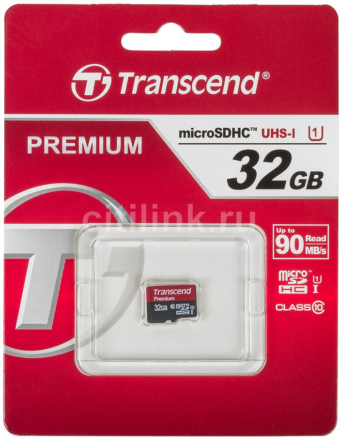 Карта памяти microSDHC UHS-I U1 TRANSCEND 32 ГБ, 60 МБ/с, Class 10, TS32GUSDCU1,  1 шт.
