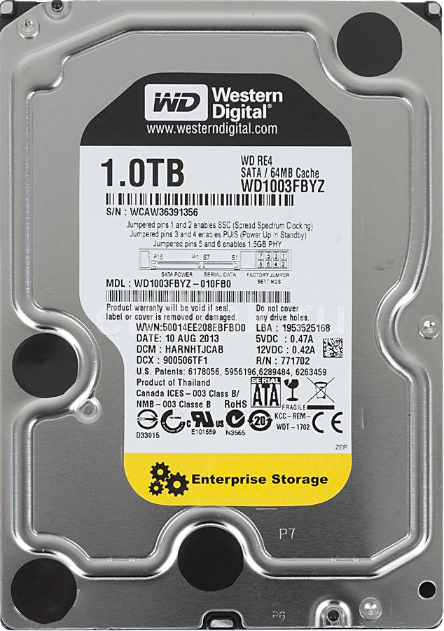 Жесткий диск WD RE WD1003FBYZ,  1Тб,  HDD,  SATA III,  3.5