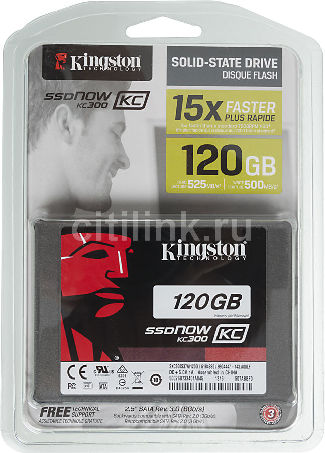 "Накопитель SSD KINGSTON Now KC300 SKC300S37A/120G 120Гб, 2.5"", SATA III"