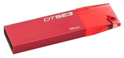 Флешка USB KINGSTON DataTraveler SE3 8Гб, USB2.0, красный [dtse3r/8gb]