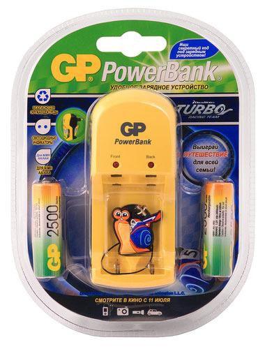 Аккумулятор + зарядное устройство GP PowerBank PB350GS250TB-2CR4,  2 шт. AA,  2500мAч