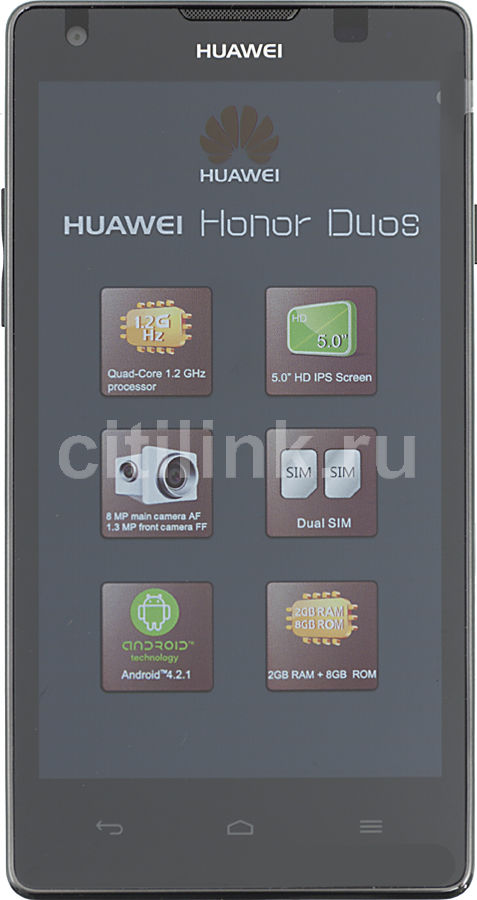 Смартфон HUAWEI Honor Duos Ascend G700  черный
