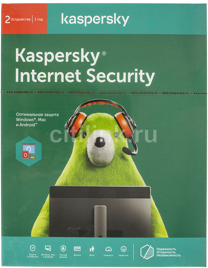 ПО Kaspersky Internet Security Multi-Device Russian Ed 2 устройства 1 год Base Box (KL1941RBBFS)Антивирусы<br><br>