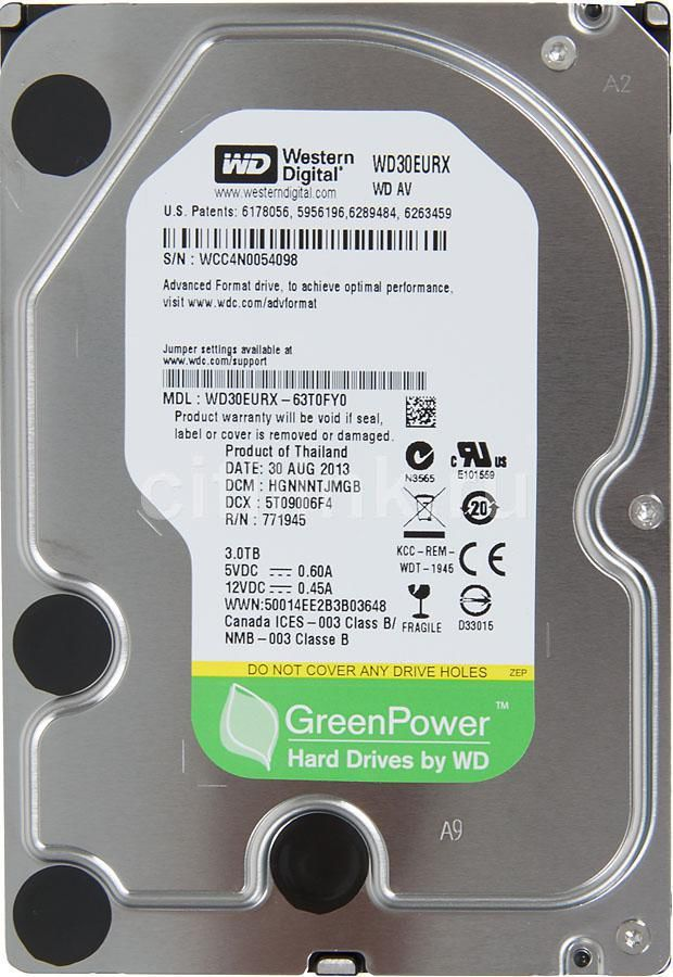 Жесткий диск WD AV-GP WD30EURX,  3Тб,  HDD,  SATA III,  3.5