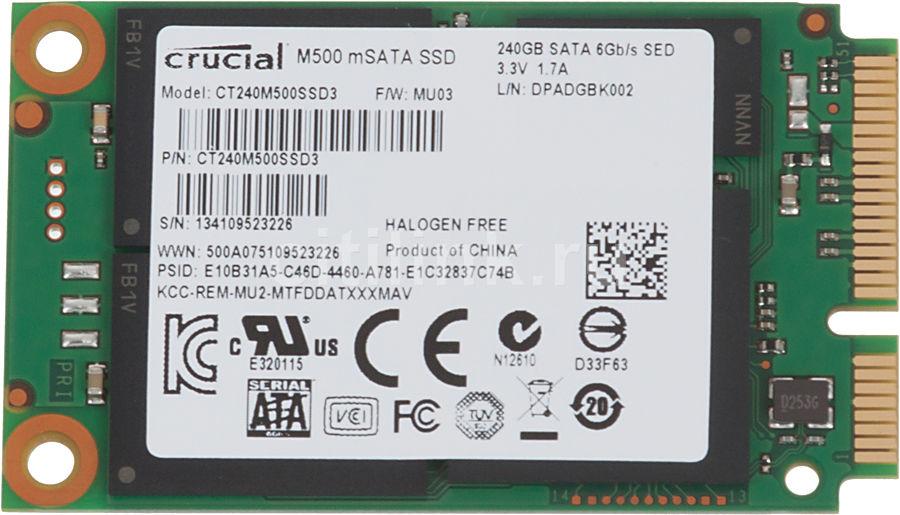 Накопитель SSD CRUCIAL M500 CT240M500SSD3 240Гб, mSATA, SATA III