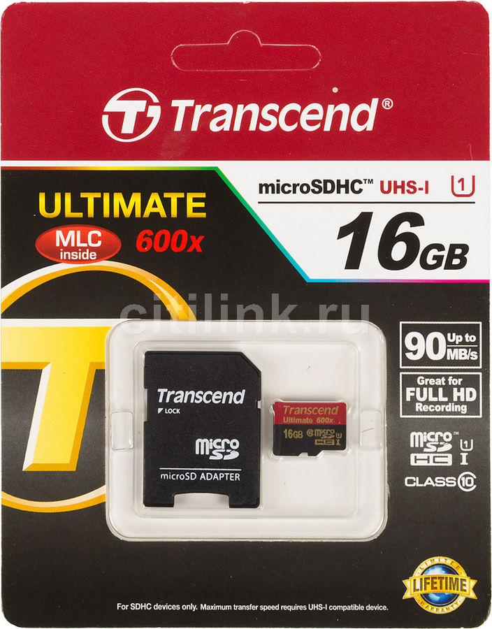 Карта памяти microSDHC UHS-I TRANSCEND Ultimate 16 ГБ, 90 МБ/с, Class 10, TS16GUSDHC10U1,  1 шт., переходник SD