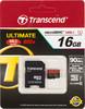 Карта памяти microSDHC UHS-I TRANSCEND Ultimate 16 ГБ, 90 МБ/с, Class 10, TS16GUSDHC10U1,  1 шт., переходник SD вид 1