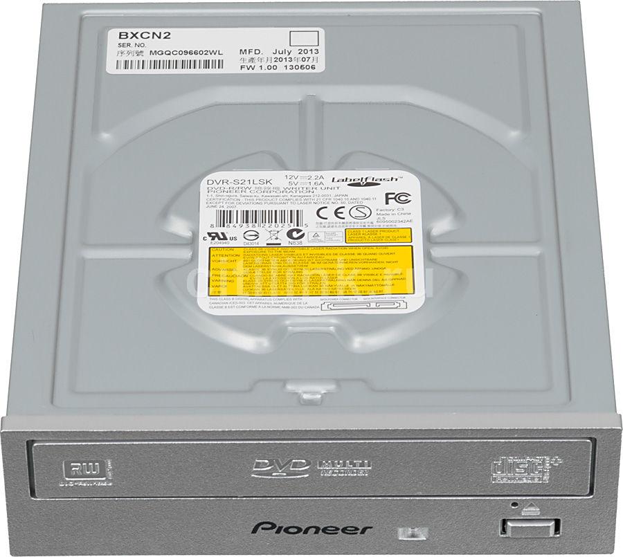 Оптический привод DVD-RW PIONEER DVR-S21LSK, внутренний, SATA, серебристый,  Ret