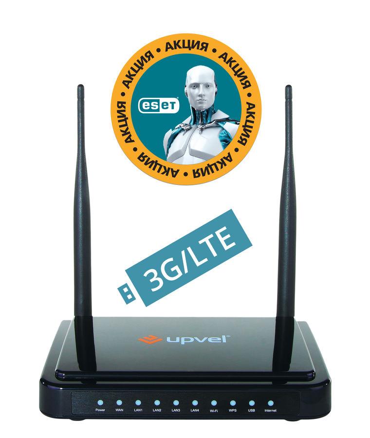 Беспроводной маршрутизатор UPVEL UR-337N4G,  черный