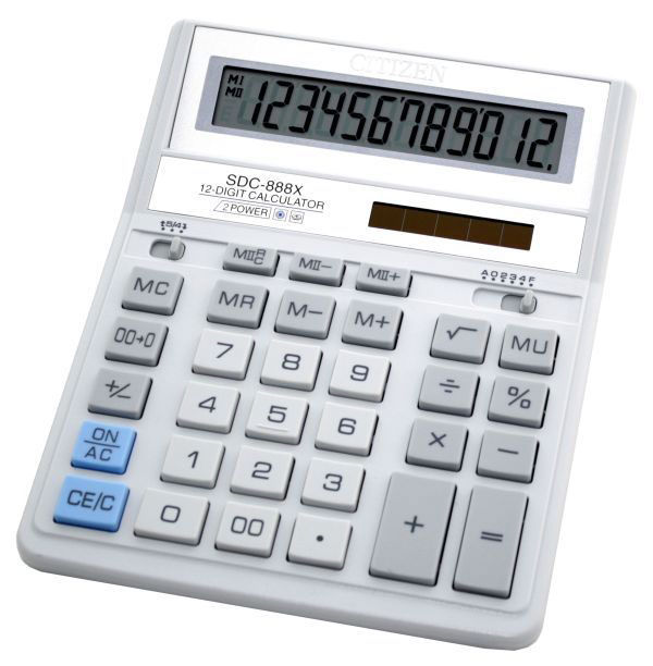 Калькулятор CITIZEN SDC-888XWH,  12-разрядный, белый