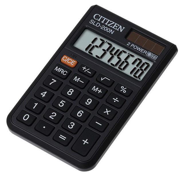 Калькулятор CITIZEN SLD-200N,  8-разрядный, черный