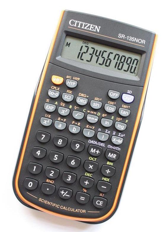 Калькулятор CITIZEN SR-135NOR,  8+2 -разрядный, черный