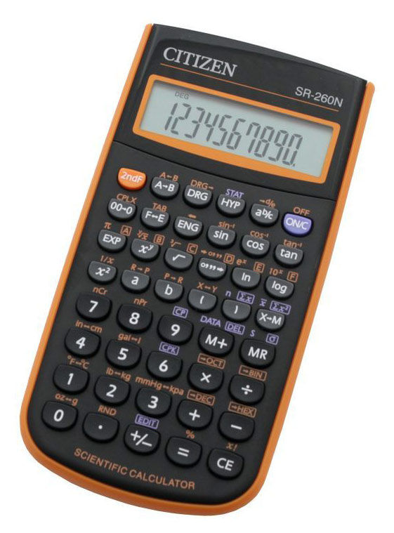 Калькулятор CITIZEN SR-260NOR,  10-разрядный, оранжевый