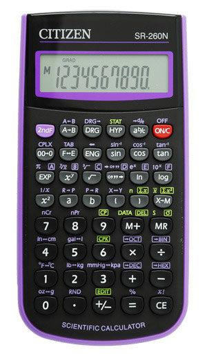 Калькулятор CITIZEN SR-260NPU,  10-разрядный, фиолетовый