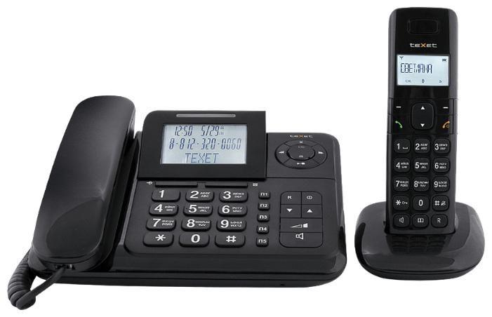 Радиотелефон TEXET TX-D7055A Combo,  черный [tx-d7055а combo]