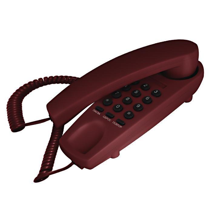 Проводной телефон TEXET ТХ-225, бордовый