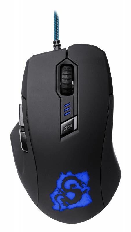 Мышь OKLICK 725G DRAGON оптическая проводная USB, черный и синий [sm-8560(6d) blue]
