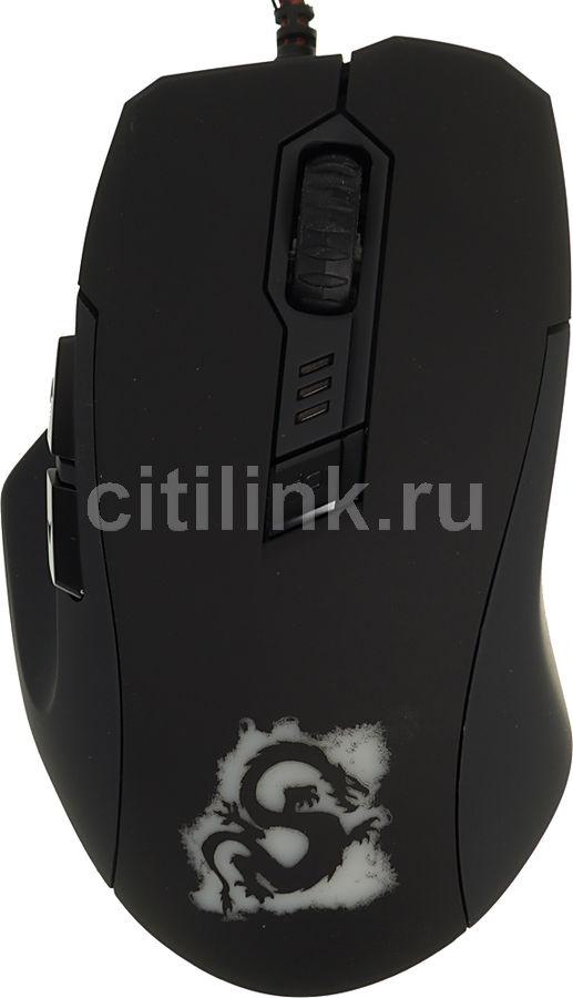 Мышь OKLICK 725G DRAGON оптическая проводная USB, черный и красный [sm-8560(6d) red]