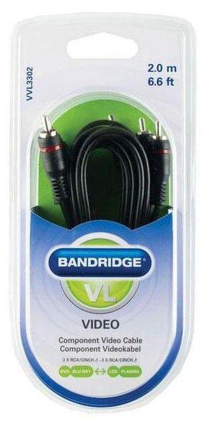 Кабель аудио BANDRIDGE VVL3302,  3хRCA (m)  -  3хRCA (m) ,  2м, черный
