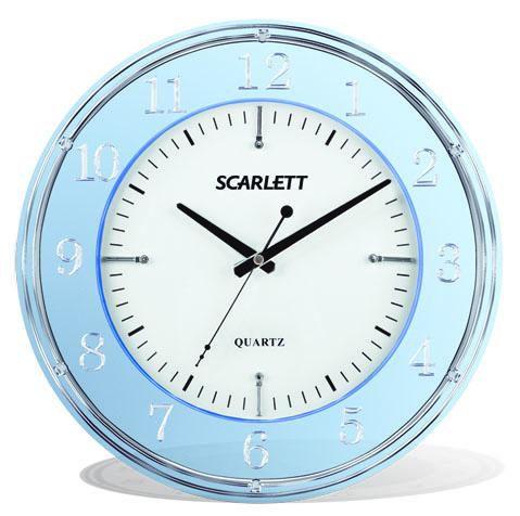 Настенные часы SCARLETT SC-55DE, аналоговые,  голубой