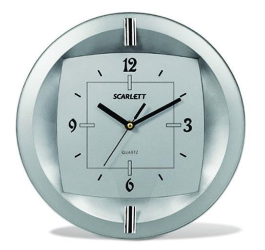 Настенные часы SCARLETT SC-55FT, аналоговые,  серый