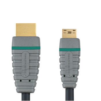 Кабель аудио-видео BANDRIDGE BVL1502,  mini-HDMI (m)  -  HDMI (m) ,  2м, GOLD