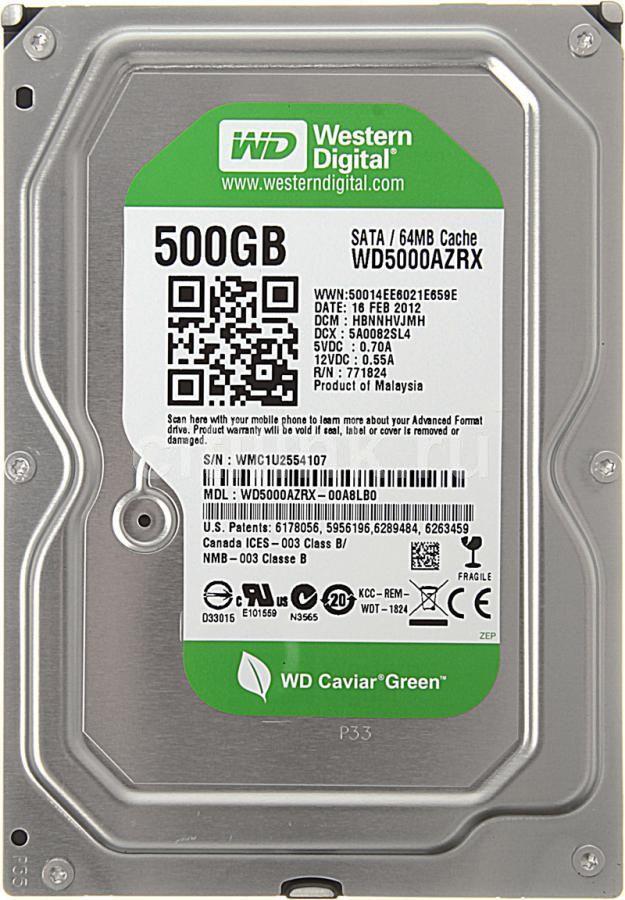 Жесткий диск WD Caviar Green WD5000AZRX,  500Гб,  HDD,  SATA III,  3.5