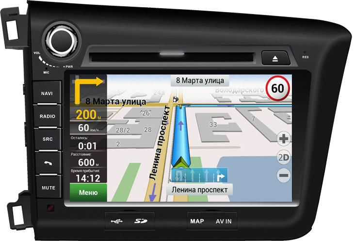 Автомагнитола VELAS V-HCIV,  Honda Civic 4D (2012+),  USB,  SD