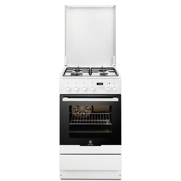 Газовая плита ELECTROLUX EKK954500W,  электрическая духовка,  белый