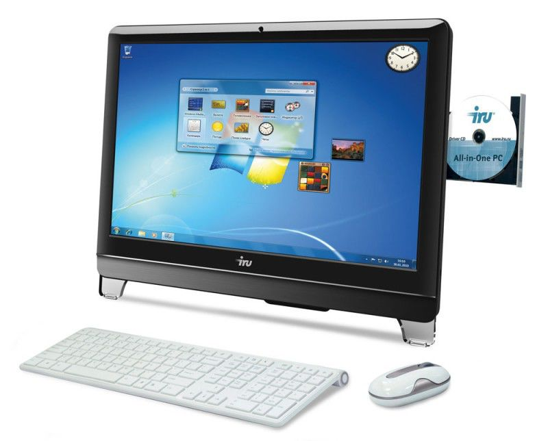Моноблок IRU 313, Intel Core i3 3220, 4Гб, 500Гб, Intel HD Graphics, DVD-RW, Windows 7 Professional, черный