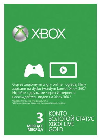 Карта подписки MICROSOFT Xbox 360 [52k-00036]