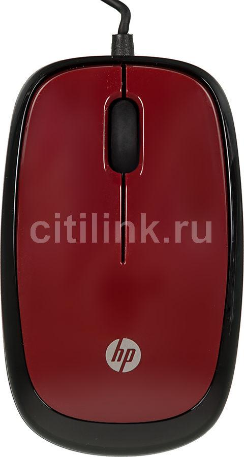 Мышь HP X1200 оптическая проводная USB, красный [h6f01aa]