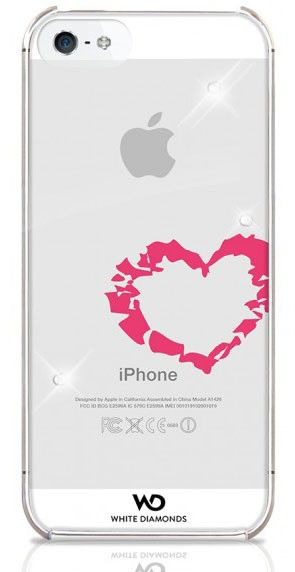 Чехол (клип-кейс) WHITE DIAMONDS Lipstick Heart, WD-1210LIP61, для Apple iPhone 5/5S, прозрачный