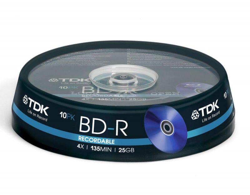 Оптический диск BD-R TDK 25Гб 4x, 10шт., T78088, cake box