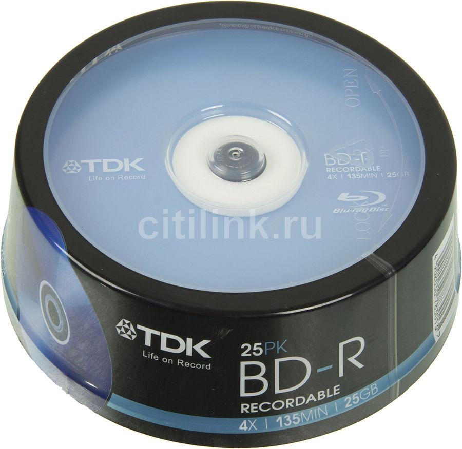 Оптический диск BD-R TDK 25Гб 4x, 25шт., T78301, cake box