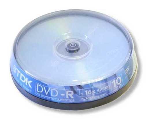 Оптический диск DVD-R TDK 4.7Гб 16x, 10шт., cake box [t78650]