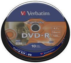 Оптический диск DVD-R VERBATIM 4.7Гб 16x, 10шт., 43643, cake box