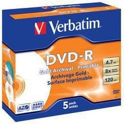 Оптический диск DVD-R VERBATIM 4.7Гб 8x, 5шт., 43638, jewel case, printable